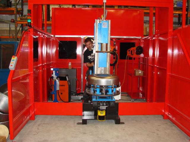 Mixer Drum Base Welding System Op1