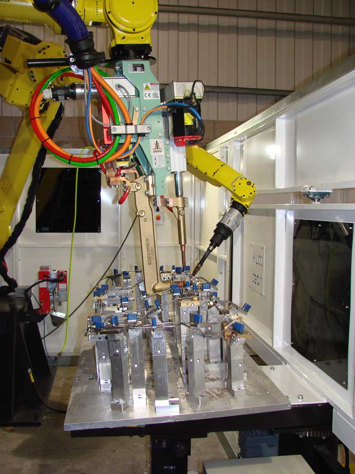 Installation of twin robot seat welding cell